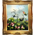 Tori Home Ruby Throated Hummingbird by Martin Johnson Heade Framed Hand Painted Oil on Canvas