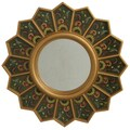 Novica Edmundo Contreras Sunflower Fan Mirror; Green