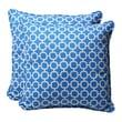 Pillow Perfect Decorative Square Toss Pillow (Set of 2); Blue/White Geometric