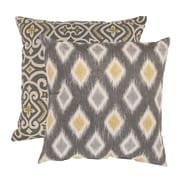 Pillow Perfect Damask and Rodrigo Cotton Throw Pillow (Set of 2); 18'' x 18''