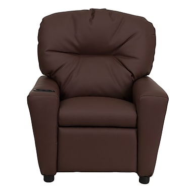 Flash Furniture Contemporary Leather Kids Recliner W/Cup Holder, Brown