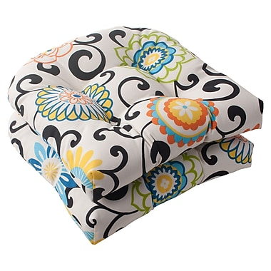 Pillow Perfect Pom Pom Outdoor Seat Cushion (Set of 2)