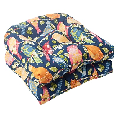Pillow Perfect Ash Hill Outdoor Seat Cushion (Set of 2); Blue / Green / Orange / Red WYF078277045652