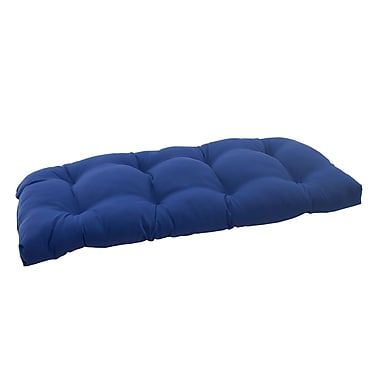 Pillow Perfect Fresco Outdoor Loveseat Cushion; Navy