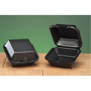 Genpak Foam Hinged Carryout Container in Black