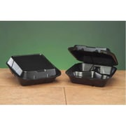 Genpak Snap-It Foam Hinged Carryout Container with 3 Compartment in Black