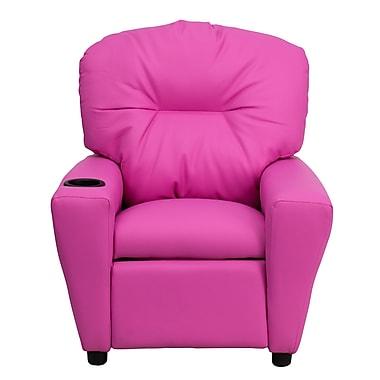 Flash Furniture Contemporary Vinyl Kids Recliner W/Cup Holder, Hot Pink