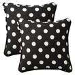 Pillow Perfect Decorative Square Toss Pillow (Set of 2); Black/White Polka Dot