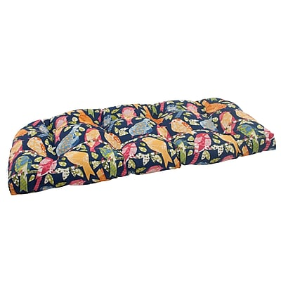 Pillow Perfect Ash Hill Outdoor Loveseat Cushion; Blue / Green / Orange / Red WYF078277053569
