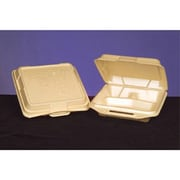 Genpak Foam Hinged Carryout Container with 3 Compartment in Sesame