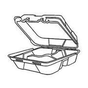 Genpak Snap-it Hinged Carryout Medium Container with 3 Compartment in White