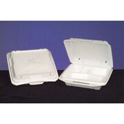 Genpak Foam Hinged Carryout Container with 3 Compartment in White, 100/Bag