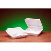 Genpak Foam High Volume Hinged Container with 3 Compartment in White