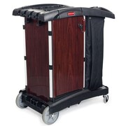 Rubbermaid Commercial Products Deluxe Paneled Compact Housekeeping Cart in Black