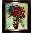 Tori Home Vase with Daisies and Poppies by Van Gogh Oil Painting Framed Hand Painted Oil on Canvas