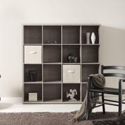 Bestar Clic Furniture 4 Row and 4 Column Open Cabinet; Riverside Oak Light