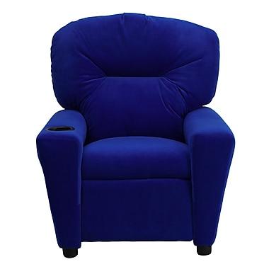 Flash Furniture Contemporary Microfiber Kids Recliner W/Cup Holder, Blue