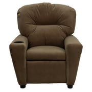 Flash Furniture Contemporary Microfiber Kids Recliner W/Cup Holder, Brown