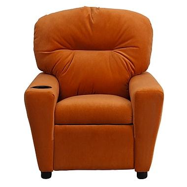Flash Furniture Contemporary Microfiber Kids Recliner W/Cup Holder, Orange