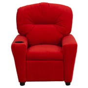 Flash Furniture Contemporary Microfiber Kids Recliner W/Cup Holder, Red