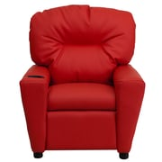 Flash Furniture Contemporary Vinyl Kids Recliner W/Cup Holder, Red