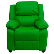 Flash Furniture Deluxe Contemporary Heavily Padded Vinyl Kids Recliner W/Storage Arms, Green