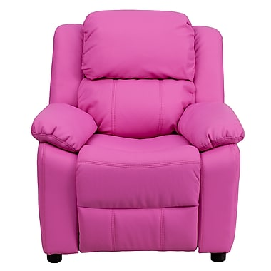 Flash Furniture Deluxe Contemporary Heavily Padded Vinyl Kids Recliner W/Storage Arms, Hot Pink