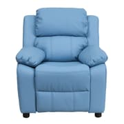 Flash Furniture Deluxe Contemporary Heavily Padded Vinyl Kids Recliner W/Storage Arms, Light Blue