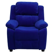 Flash Furniture Deluxe Contemporary Heavily Padded Microfiber Kids Recliner W/Storage Arms, Blue