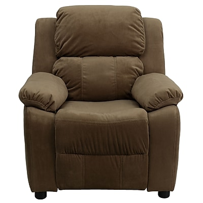 Flash Furniture Deluxe Contemporary Heavily Padded Vinyl Kids Recliner W/Cup Holder, Brown 1180005