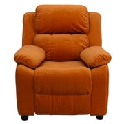 Flash Furniture Deluxe Contemporary Heavily Padded Microfiber Kids Recliner W/Storage Arms, Orange