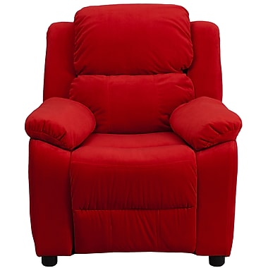 Flash Furniture Deluxe Contemporary Heavily Padded Microfiber Kids Recliner W/Storage Arms, Red