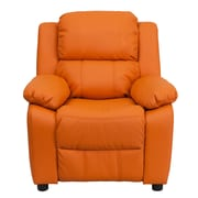 Flash Furniture Deluxe Contemporary Heavily Padded Vinyl Kids Recliner W/Storage Arms, Orange