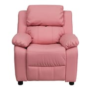 Flash Furniture Deluxe Contemporary Heavily Padded Vinyl Kids Recliner W/Storage Arms, Pink