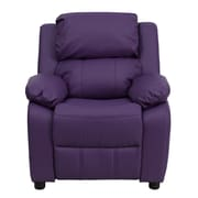 Flash Furniture Deluxe Contemporary Heavily Padded Vinyl Kids Recliner W/Storage Arms, Purple