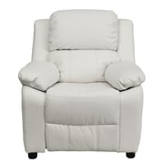 Flash Furniture Deluxe Contemporary Heavily Padded Vinyl Kids Recliner W/Storage Arms, White