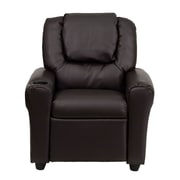 Flash Furniture Contemporary Vinyl Kids Recliner W/Cup Holder and Headrest, Brown