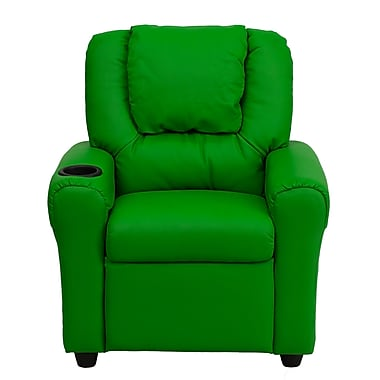 Flash Furniture Contemporary Vinyl Kids Recliner W/Cup Holder and Headrest, Green