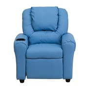 Flash Furniture Contemporary Vinyl Kids Recliner W/Cup Holder and Headrest, Light Blue