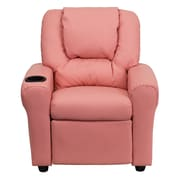 Flash Furniture Contemporary Vinyl Kids Recliner W/Cup Holder and Headrest, Pink