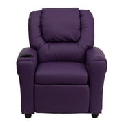 Flash Furniture Contemporary Vinyl Kids Recliner W/Cup Holder and Headrest, Purple