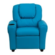 Flash Furniture Contemporary Vinyl Kids Recliner W/Cup Holder and Headrest, Turquoise