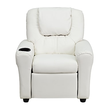 Flash Furniture Contemporary Vinyl Kids Recliner W/Cup Holder and Headrest, White