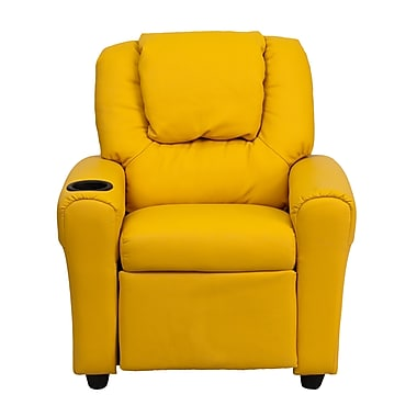 Flash Furniture Contemporary Vinyl Kids Recliner W/Cup Holder and Headrest, Yellow