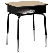 Flash Furniture Laminate Student Desk With Open Front Metal Book Box, Natural/Black/Chrome