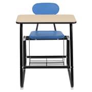 Flash Furniture Hercules Laminate Sled Base Student Combo Desk W/Chair/Book Rack, Natural/Blue/Black