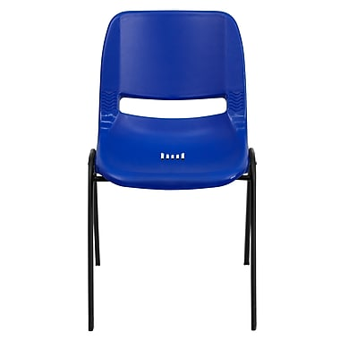 Flash Furniture Hercules Shell Ergonomic Stack Chair With Black Frame and 12in. Seat, Navy, 30/Pack