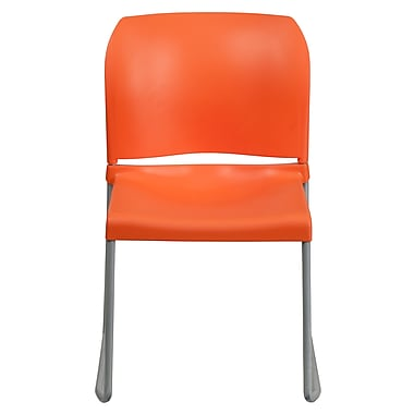 Flash Furniture Hercules Full-Back Contoured Stack Chair with Silver Sled Base, Orange, 4/Pack