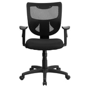 Flash Furniture WL-F061SYG-MF-A-GG Fabric Mid-Back Task Chair with Adjustable Arms, Black