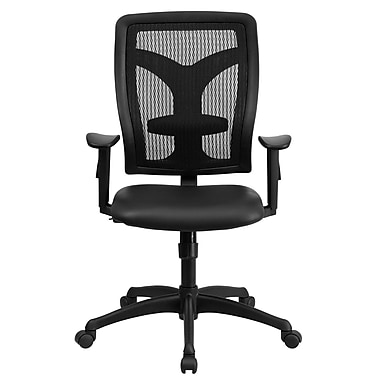 Flash Furniture LeatherSoft Leather Computer and Desk Office Chair, Adjustable Arms, Black (WLF062SYGLEAA)